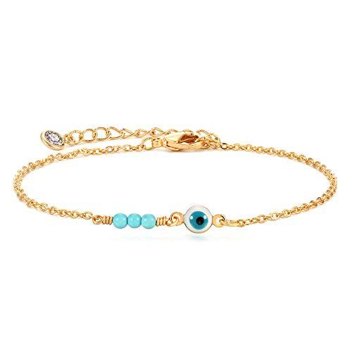 Gold Dainty Evil Eye Bracelet,Tiny Cute Elegant Three Turquoise Protection Fatima Bracelet for Women…