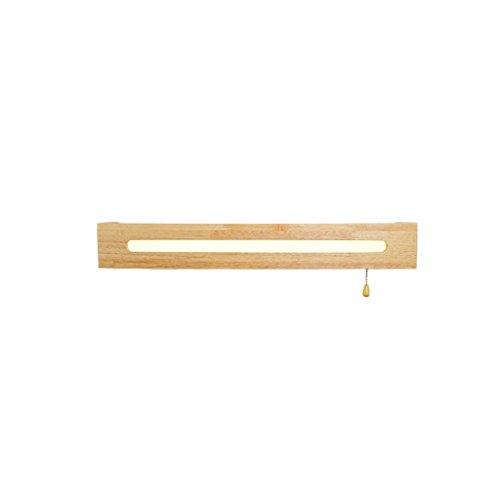 Enkel trä bathroom trä spegel lampa sovrum sänggavel dekoration LED pull switch vägglampa Enkelhet (Size : L55cm)