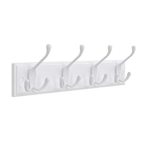 SONGMICS Wall Mounted Coat Rack with 4 Tri-Hooks for Entryway Bathroom Closet White ULHR30WT