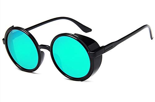 ZYIZEE Gafas de Sol Gafas de Sol Retro para Hombre Gafas de Sol Redondas de Vapor de Metal de diseñador para Mujer UV400 Vintage Eyewear-B