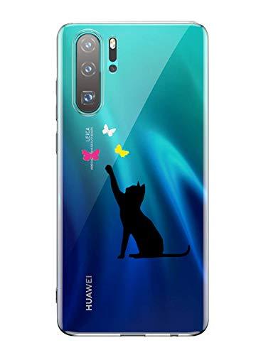 Oihxse Mode Transparent Silicone Case Compatible pour Huawei P Smart Z Coque, Ultra Mince Souple TPU Mignon Animal Série Protection de Housse Anti-Scrach Bumper Etui -Chat