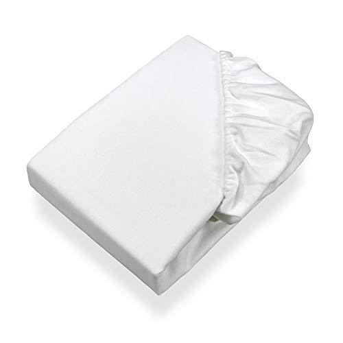 SETEX Molton Köper Matratzenschutz, Spannbetttuch, 120 x 200 cm, 100 % Baumwolle, Basic, Weiß, 1308120200404002