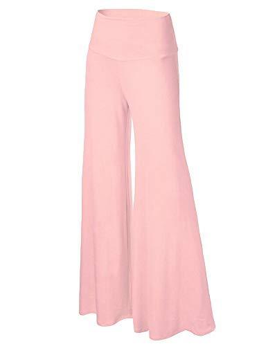 Mujeres Ancho Pierna Palazzo Pantalones Color Sólido Cintura Alta Cintura Elástica Holgados Flojos Suave Pantalones de Yoga Pantalones de Pierna Ancha Rosa L