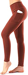 Women's High Waist Yoga Pants with Side Pockets & Inner...