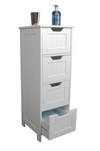Badezimmer Schrank Aufbewahrung–Slim Design Schublade Einheit, weiß Holz- und freistehend, Anzug Schlafzimmer, Wohnzimmer und Flur–Sennen Serie von Elegante Marken