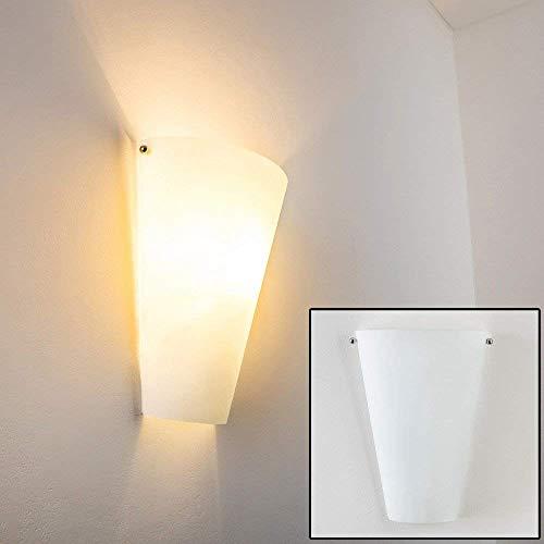 Wandlampe Zera aus Metall/Glas in Weiß, moderne Wandleuchte mit Up & Down-Effekt, 1 x E27 max. 60 Watt, Innenwandleuchte mit Lichteffekt, geeignet für LED Leuchtmittel