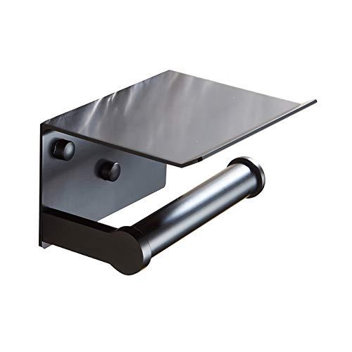 Funie Toilettenpapierhalter/Toilettenpapierhalter/Toilettenpapierhalter mit Ablagefach, zur Wandmontage, silberfarben OneSize Schwarz