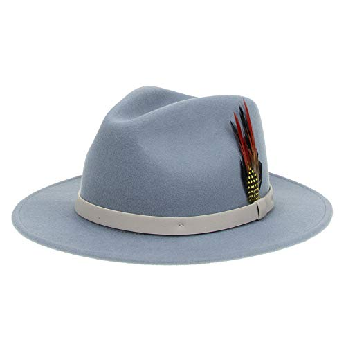 Fedora for Men Women Wool Felt Blue Panama Hat Classic Wide Brim with Feather Vintage L