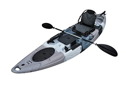 BKC UH-RA220 11.5 foot Riptide Angler Sit On Top Fishing Kayak with Paddles and Upright Chair and Rudder System Included (Grey Camo)