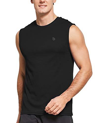 BALEAF Men's Sleeveless Moisture Wicking Shirts Sport Workout Muscle Tank Top Black Size XL