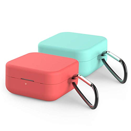 IVEOPPE [2-Pack] Funda Silicona Xiaomi True Air2 SE Airdots, Xiaomi Mi True Wireless Earphones 2 Basic Bluetooth Auriculares Wireless Carcasa (Rojo + Menta Verde)