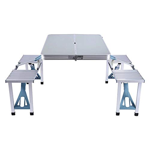 Housewares Folding Table Folding Craft Table Camping Picnic Table Outdoor Garden Party Barbecue Chair Stool Portable Table and Bench, Suitable for Outdoor, Family, Outing