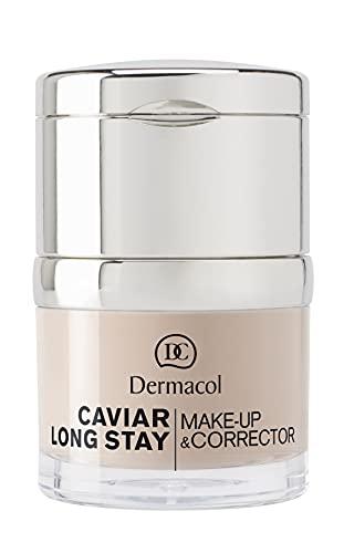 Dermacol 2-in-1 Long-Stay-Foundation & Concealer mit Kaviar - Langanhaltende, hypoallergene, nicht-ölige Korrektur von Pigmentflecken - Feuchtigkeitsspendend, deckend, & matt - Pale