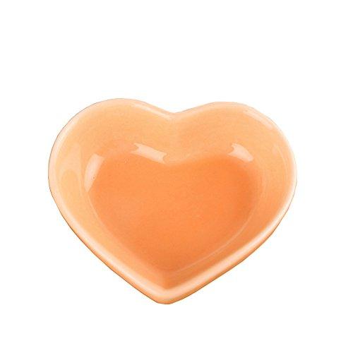 Set of 5 Cute Color Mini Heart Porcelain Dishes Serving Bowls for Appetizer Dessert Salad Snack Sushi Fruit (5, orange)