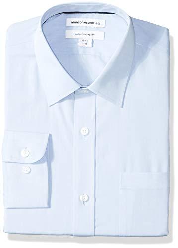 Amazon Essentials Men's Regular-Fit Wrinkle-Resistant Long-Sleeve Solid Dress Shirt, Light Blue, 17.5' Neck 36'-37' Sleeve
