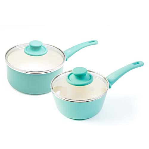 GreenLife CC002559-001 Soft Grip Nonstick saucepan set, 1 Qt and 2 Qt, Turquoise