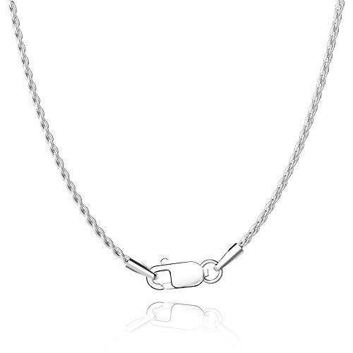 Jewlpire Diamond Cut 925 Sterling Silver Chain Rope Chain Italian Silver Necklace Chain for Women Men Super Shiny Durable 1.35mm Size 18 Inch