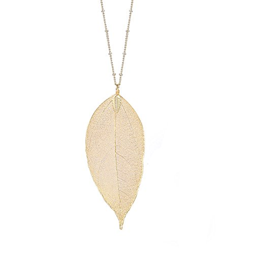 Women's Long Leaf Pendant Necklaces Real Filigree Autumn Leaf Fashion Jewelry Gifts (14k Gold)
