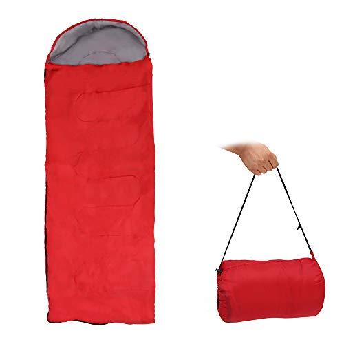 NEXMON 寝袋 封筒型 170T防水 キャンプ スリーピングバッグ 収納袋付き 軽量 保温 通気性 オールシーズン ハイキング/車中泊/登山/防災対策 0.71kg (レッド)