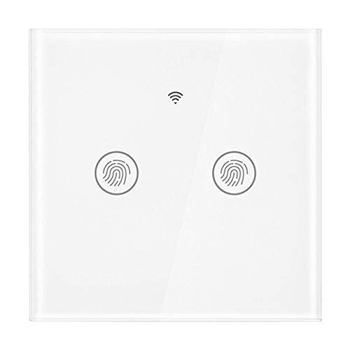 cersalt Interruptor WiFi, Interruptor táctil de Pared de diseño Elegante, Panel de Vidrio Templado(BAI GAI 2 Road)