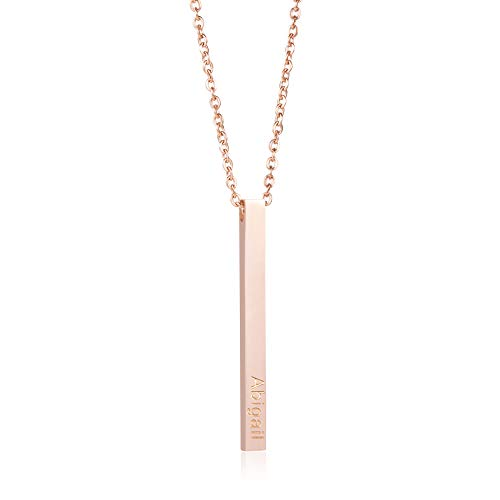 Joycuff Abigail Personalized Name Vertical Bar Necklace Pendant 18K Rose Gold Stainless Steel Jewelry Monogram Cute Necklaces Birthday Gifts for Women Teen Girls Daughter Best Friend Wife Mom