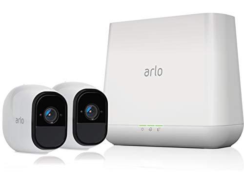 Arlo Pro Überwachungskamera & Alarmanlage, HD, 2er Set, Smart Home, kabellos, Innen / Aussen, Nachtsicht, Bewegungsmelder, 130 Grad Blickwinkel, WLAN, 2-Wege Audio, wetterfest, (VMS4230) - Weiß