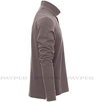 para hombre gris XXXXXL Payper Polo de manga larga para hombre 3 botones 100/% algod/ón