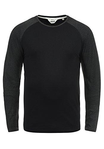 !Solid Bastien Herren Longsleeve Langarmshirt Shirt Mit Rundhalskragen, Größe:M, Farbe:Black (9000)