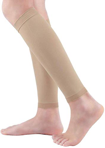 Calf Compression Sleeve Women 2 Pairs 20-30mmHg Calf Support Pain Relief, Footless Compression Socks Varicose Veins Shin Splint Swelling Edema