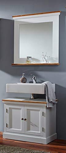 SAM 2 TLG. Badmöbel-Set Paris, Paulowniaholz, weiß lackiert, je 1 x Waschbeckenunterschrank & Spiegel, Landhausstil, OHNE Becken