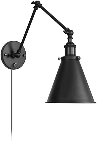 Industrial Wall Light Black Paint Finish Plug in Adjustable Arms with On Off Switch for Bedroom product image
