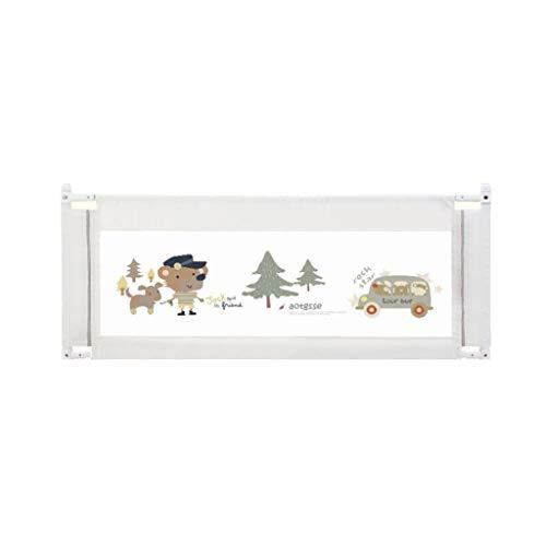 JUEJIDP Metallbett Zaun Baby bruchsicher Schutzgeländer vertikal heben Bett Seitenwand 8 Gangposition einstellbare Höhe 92cm Kinderlaufstall (Farbe : Beige, größe : 180X92cm)