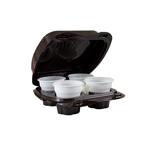 Vi.Pac 50 Contenitori KAFFEBox Pet caffè Asporto Bicchierini Caffe Confezioni plastica Coperchio Termici Trasporto Bar Coffee (4 caffè)