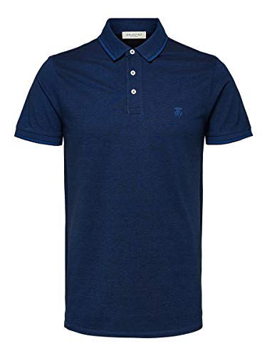 SELECTED HOMME Herren SLHTWIST SS Polo W NOOS Poloshirt, Blau (Limoges Detail: Twisted with Black), Large (Herstellergröße: L)