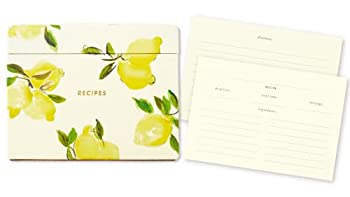 Kate Spade New York Recipe Box with Cards and Dividers Kitchen Organizer Includes 40 Double Sided Recipe Cards and 8 Divider Tabs Lemon