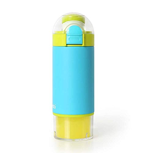 Burabi Formula Dispenser Bottle, Portable Formula Making Mixing Bottle with 3 Compartment Milk Powder Container for Travel, Easy to Make Warm Bottles outdoor(Blue)
