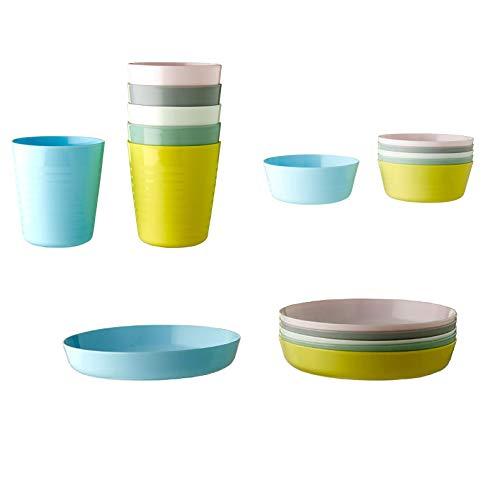IKEA KALAS - Vajilla infantil (6 cuencos, 6 platos, 6 tazas), multicolor