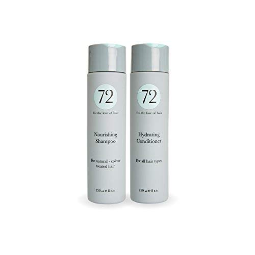 72 Hair Vegan Nourishing Duo, Sulphate Free Shampoo and Conditioner Set, Anti Frizz Treatment, 500ml