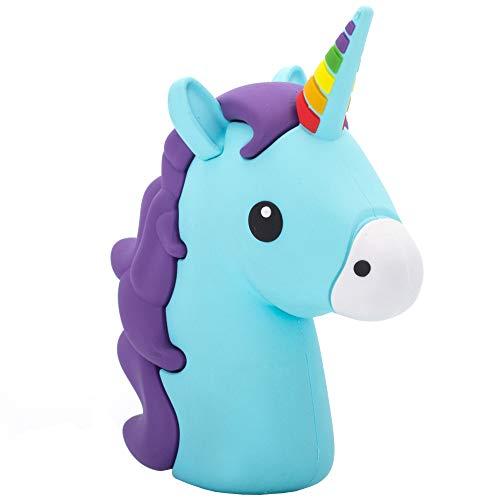 Monsterzeug Einhorn Powerbank im Emoticon Design, Unicorn Universal Handyladegerät für Smartphone, Externer 2600 mAh Akku mit USB-Kabelanschluss