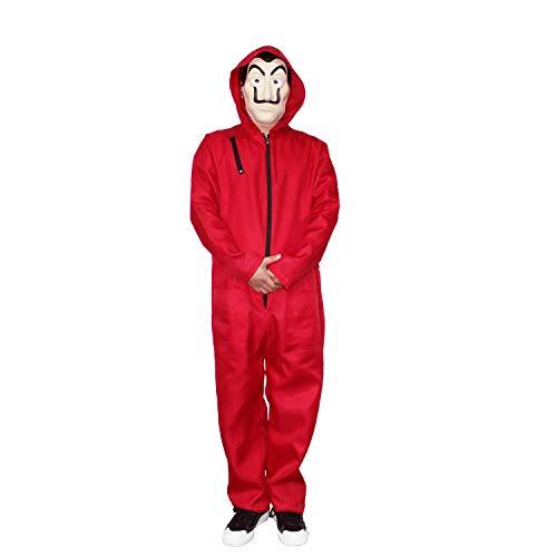 Traje de la Casa de Papel con Mascara,Rojo Mono Cosplay Trajes de Hombre Mujer Niños Completo Disfraz Carnaval Halloween Navidad