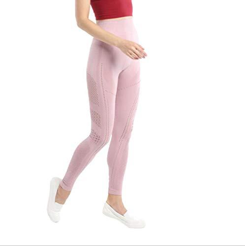 Frauen Nahtlose hohe Taillen-Lifting nimmt elastisches Yoga Pants Damen Laufhohl Sport Fitness-Bekleidung,Rosa,M