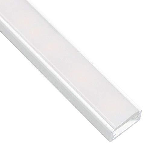 Pianeta-Led DL1407 Lot de 5 barres à LED avec profilé en aluminium blanc et verre opaque, embouts et système de fixation inclus, 10 x 2 m