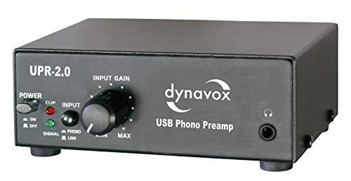 Dynavox Phono-Vorverstärker UPR-2.0, für Plattenspieler mit MM-Abtastsystemen, USB-Ausgang zum Digitalisieren von Vinyl-Platten, schwarz