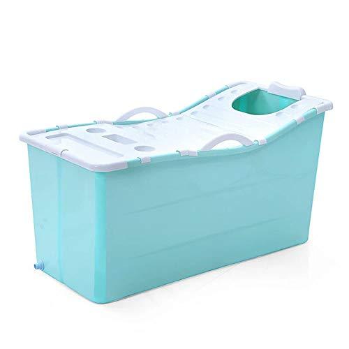 LYN&xxx Baby-Badewanne mit Drain, Schwimmen Infant Sicherheit Dusche Slide Schutz Bequeme zusammenklappbarer Verlängerung Verdickung Badewanne Kinder Kunststoff-Badefass,Blau