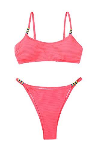 CUPSHE Conjunto de Bikini para Mujer Cheeky Rosa Ribbed Corte Alto Traje de Baño de Dos Piezas, M