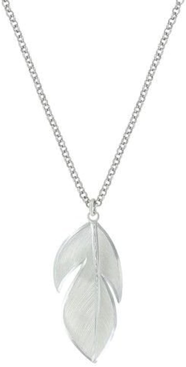 Montana Silversmiths Wide Floating Feather Necklace  Silver Plated