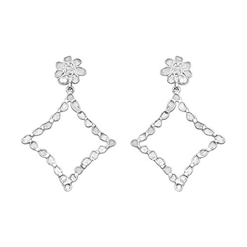 2.90 ctw pendientes hechos a mano de polkislicediamond naturales brillantes y finos - plata de ley 925