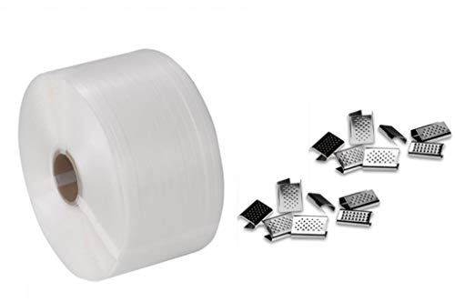 REGGIA + SIGILLI Reggetta polipropilene manuale 12x0,7 mm 1000mt x 1 bobina bianca .Foro 62mm.+ BOX da 250 sigilli bulinati 13x0,5 (5/10)
