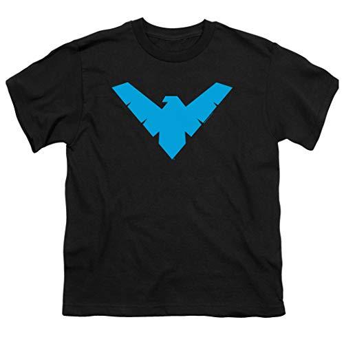 Camiseta com logotipo Popfunk Youth Nighwing para meninos e adesivos, Preto, Medium