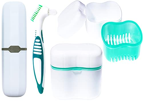 Denture case, denture cup bath, toothbrush with dentures and portable toothbrush case, denture container with basket denture holder (Green)